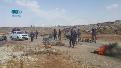صورة احتجاجات في منطقة اللجاة على خلفية اعتقال شاب من أبناء المنطقة (صور)